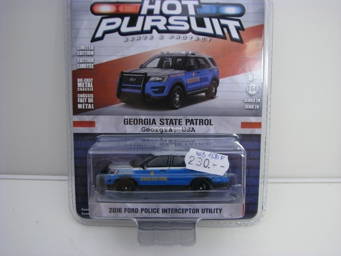Ford Police Iterceptor 2016 Georgia USA 1:64 Hot Pursuit série 28 Greenlight