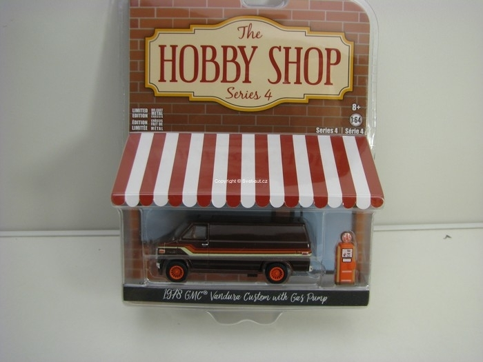GMC Vandura 1978 + Gas Pump 1:64 Hobby Shop série 4 Greenlight