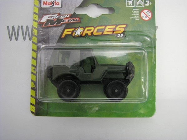 Military vehicle Fresh Metal Forces 3 Jeep se střechou blistr 15168 Maisto