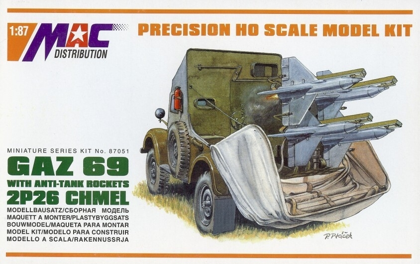 GAZ 69 with anti-tank rockets 2P26 Chmel stavebnice 1:87 MAC 87051