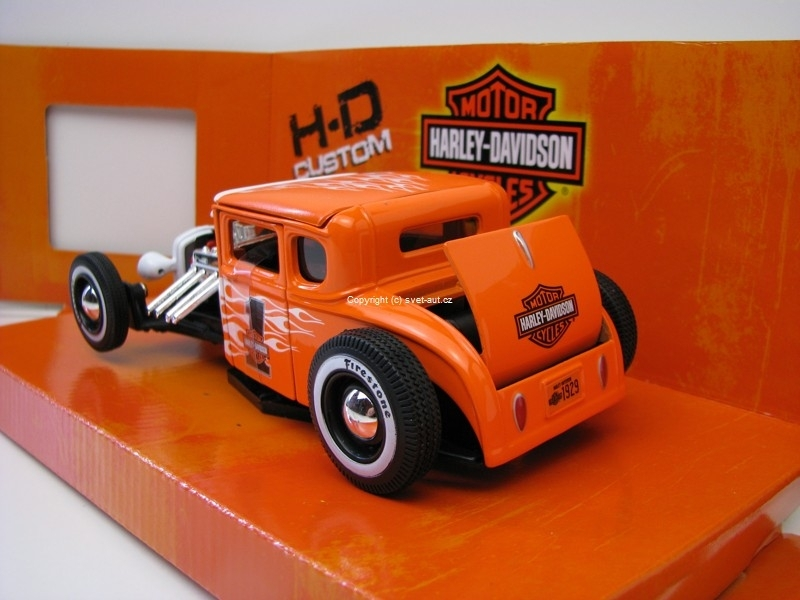Ford model A 1929 orange Harley-Davidson 1:24 Maisto