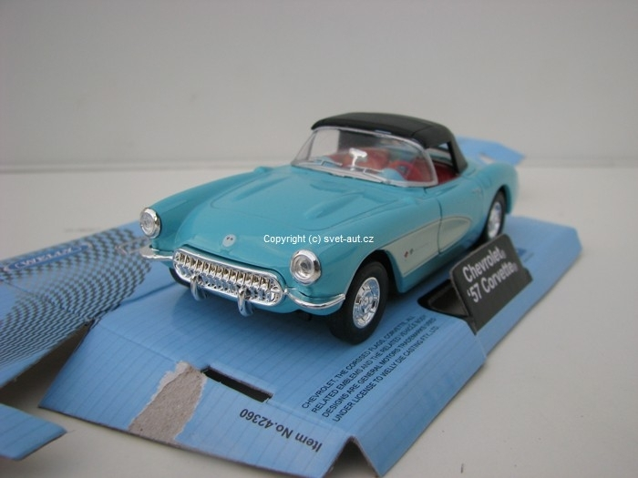 Chevrolet Corvette 1957 Soft top blue 1:32 - 36 Welly