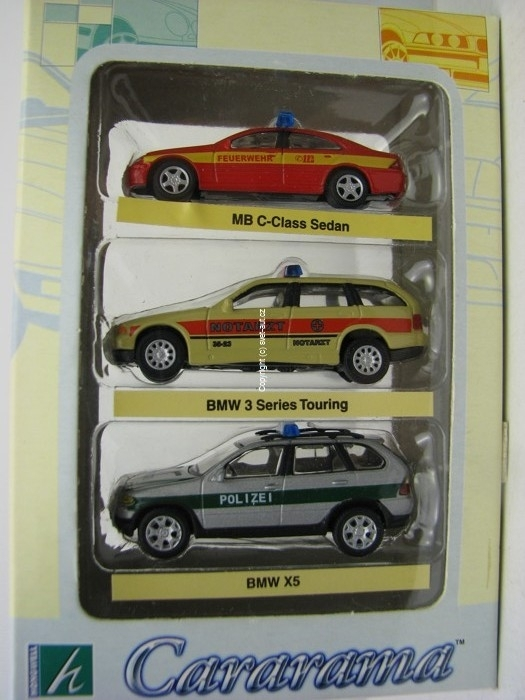 Mercedes BMW 3 a BMW X5 security 1:72 Cararama