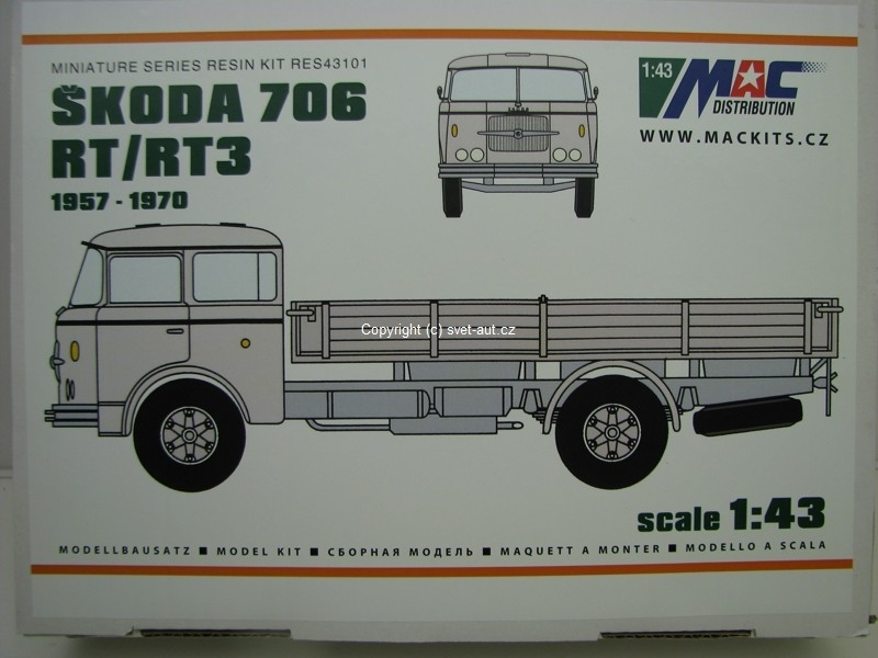 Škoda 706 RT/RT3 1957-1970 resin Kit 1:43 MAC