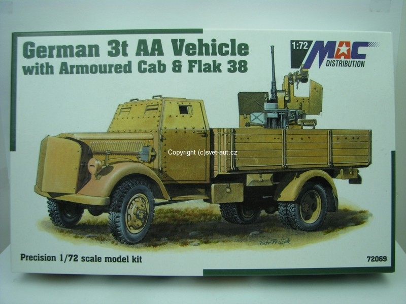 Opel Blitz German 3t AA vehicle with armoured cab a Flak 38 1:72 MAC