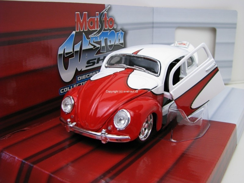 Volkswagen Beetle Tuning red white 1:24 Maisto