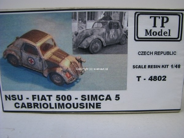 NSU - Fiat 500 - Simca 5 Cabriolimousine 1:48 Resin Kit