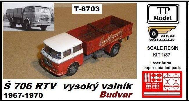 Škoda 706 RT valník Budvar 1957-1970 1:87 Resin Kit TP