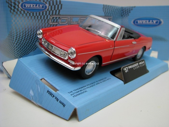 Peugeot 404 1957 Cabrio open Red 1:32 - 36 Welly