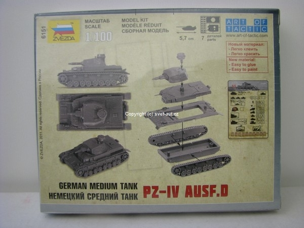 Tank PZ-IV Ausf.D German medium tank 1:100 Zvezda