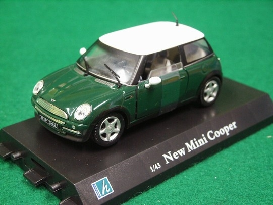 New Mini Cooper Green White rof 1:43 Cararama